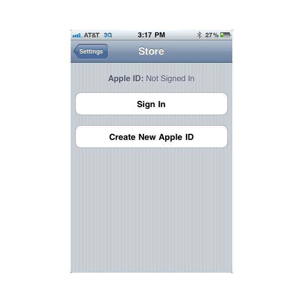 Apple ID log in screen