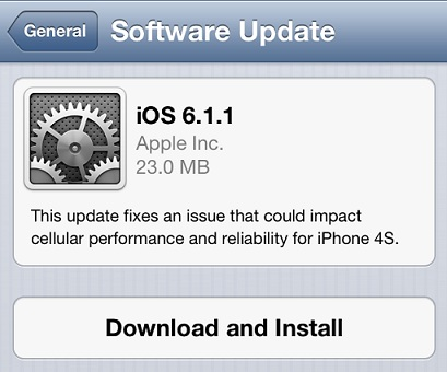 iOS 6.1.1 update now available
