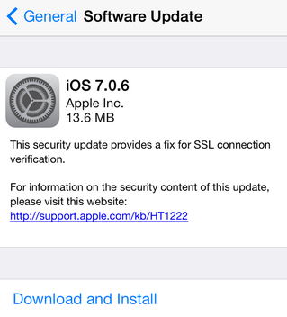 Apple quietly rolled out the iOS 7.0.6 and iOS 6.1.6 update