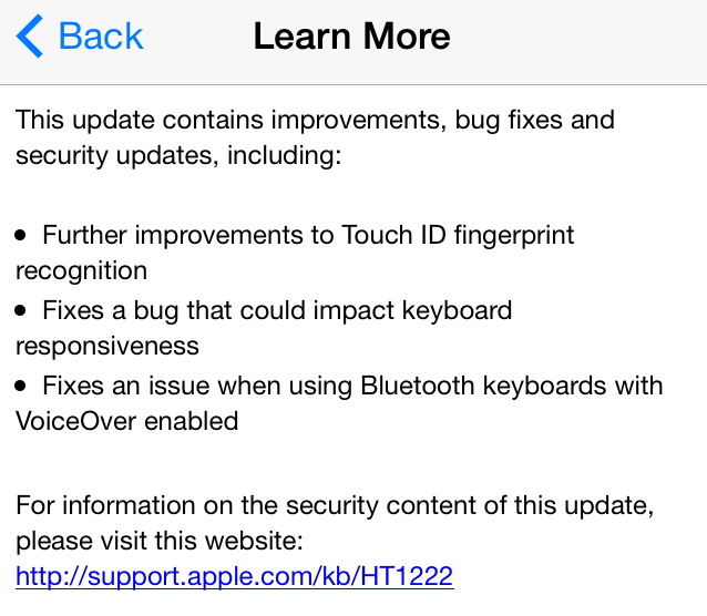 iOS 7.1.1 update features