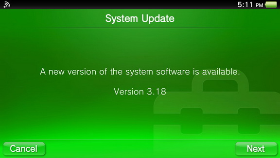 PS Vita Firmware 3.18 out now
