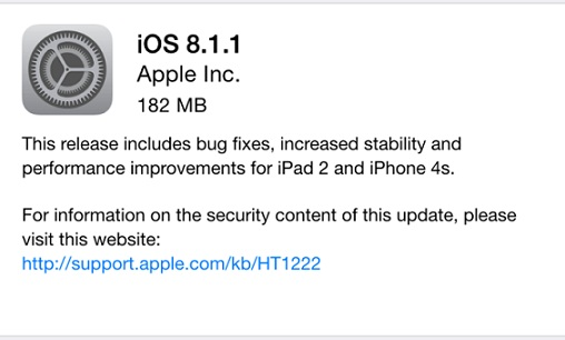 iOS 8.1.1 Now Available