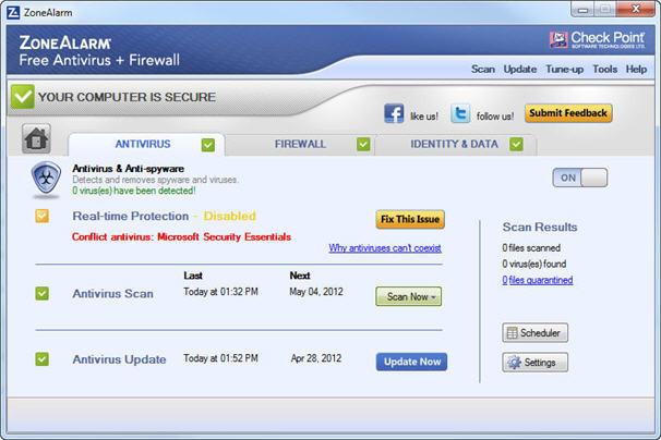 Zone Alarm Free Anti-Virus and Firewall