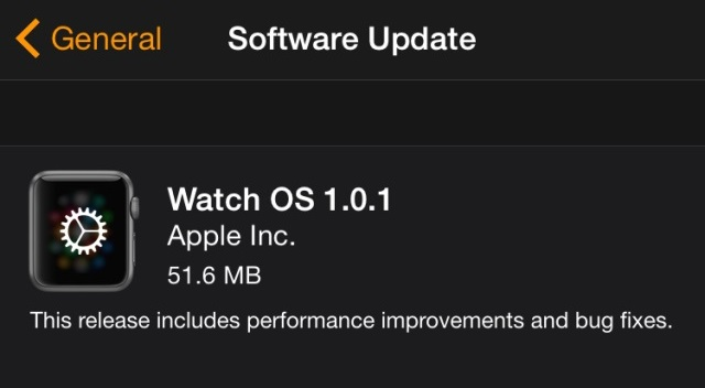 Apple Watch OS OS 1.0.1