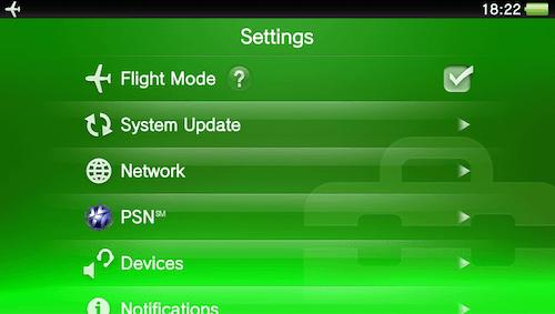 PS Vita - Turn on Flight Mode